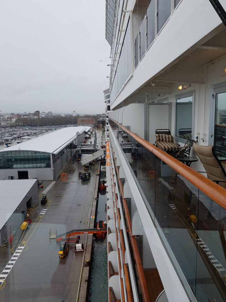 View down the side of the ship