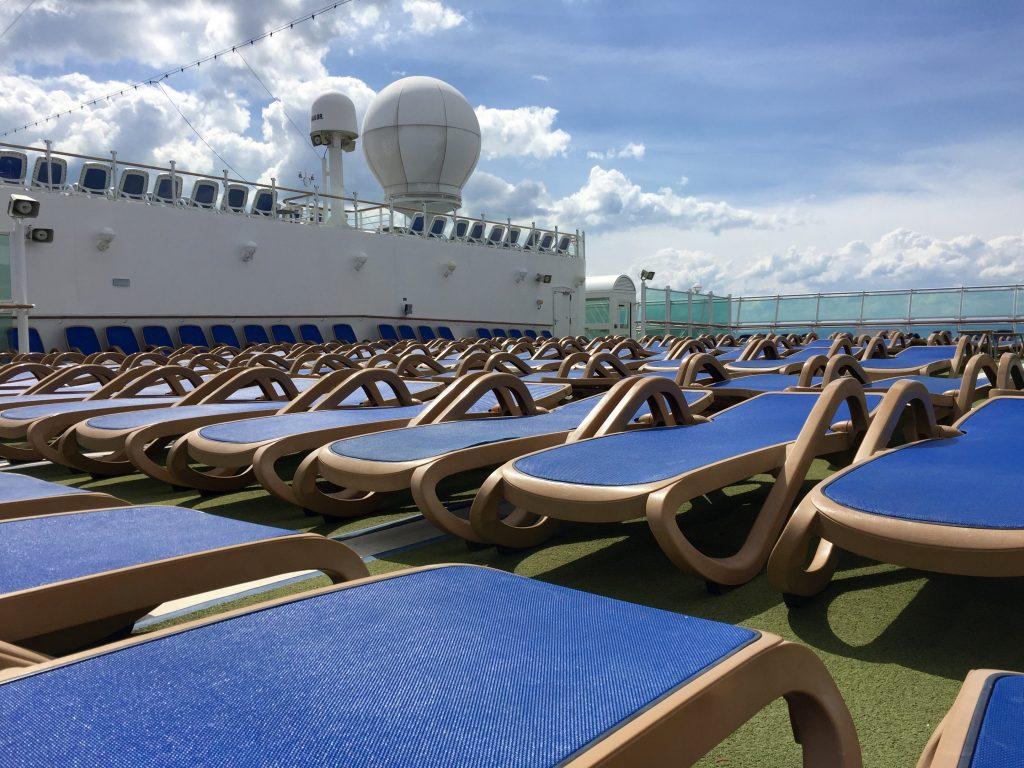 Sunbeds on board Azura