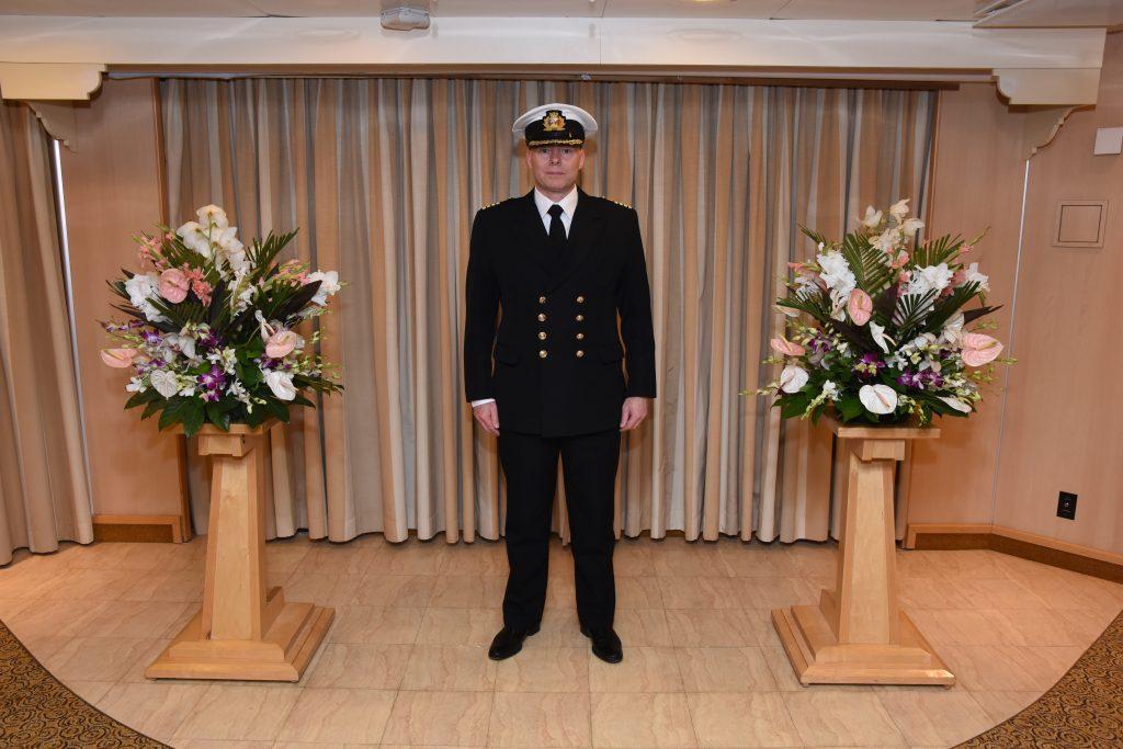 Captain Simon Terry kindly posing for a photograph in uniform on board Ventura.
