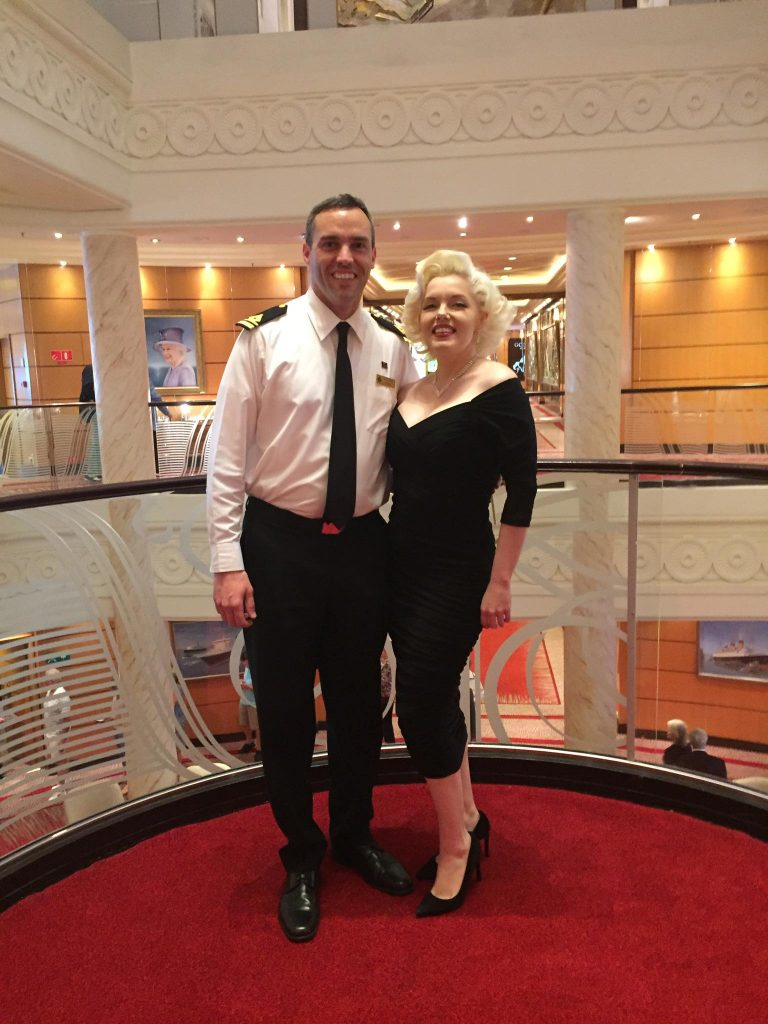 Third Officer Kevin D. Morrissey with a Marilyn Monroe lookalike on board Queen Mary 2