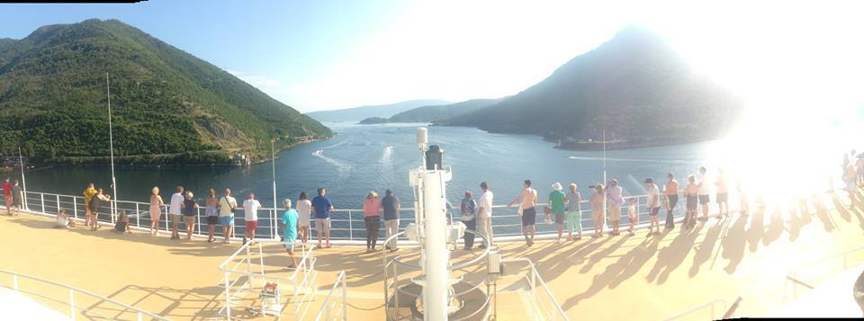 A P&O Cruises ship sailing out of Montenegro