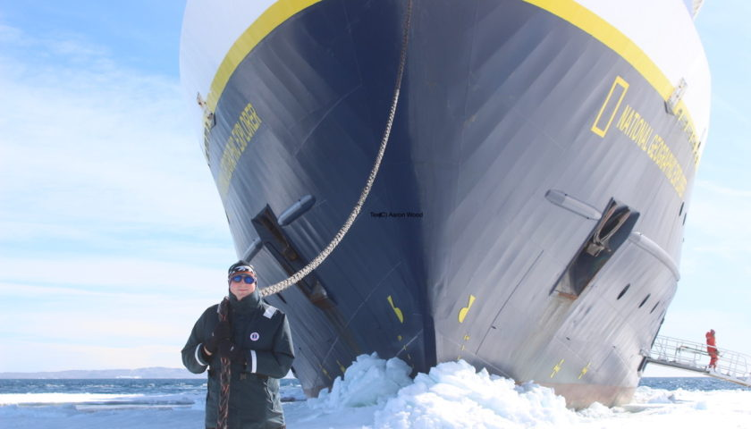 Aaron With Ship Parked in Fast Ice