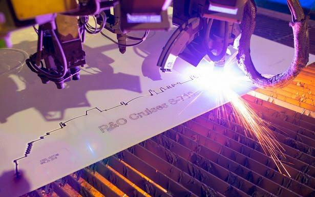 Steel cutting. Photo: P&O Cruises