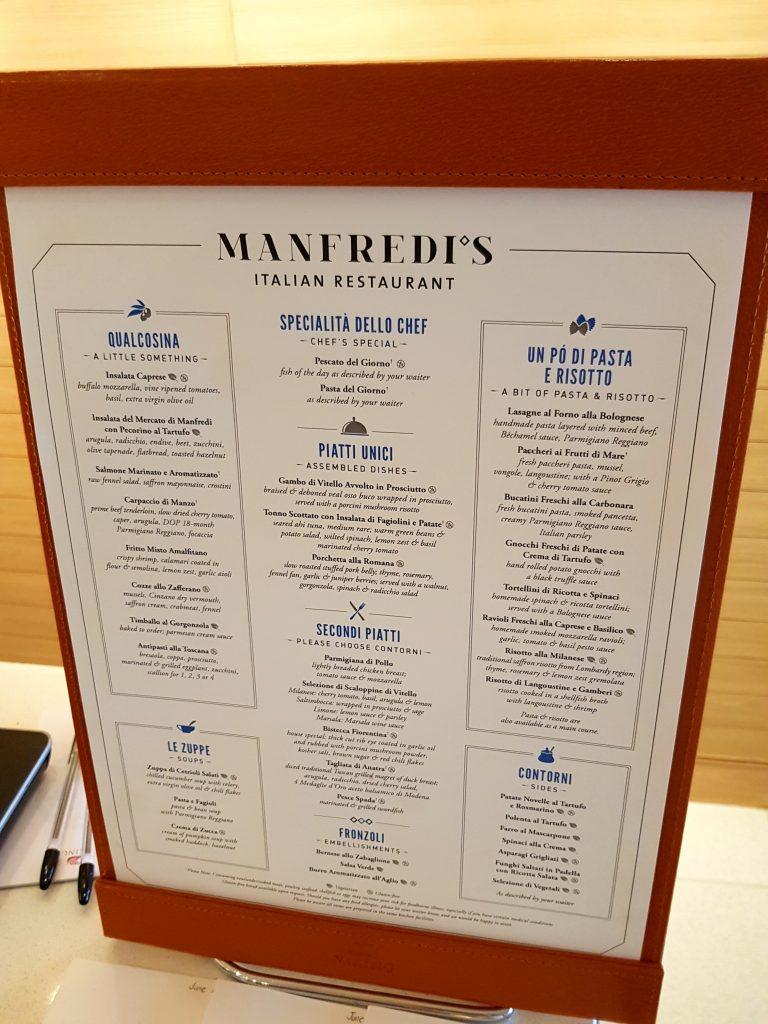 Manfredi's menu