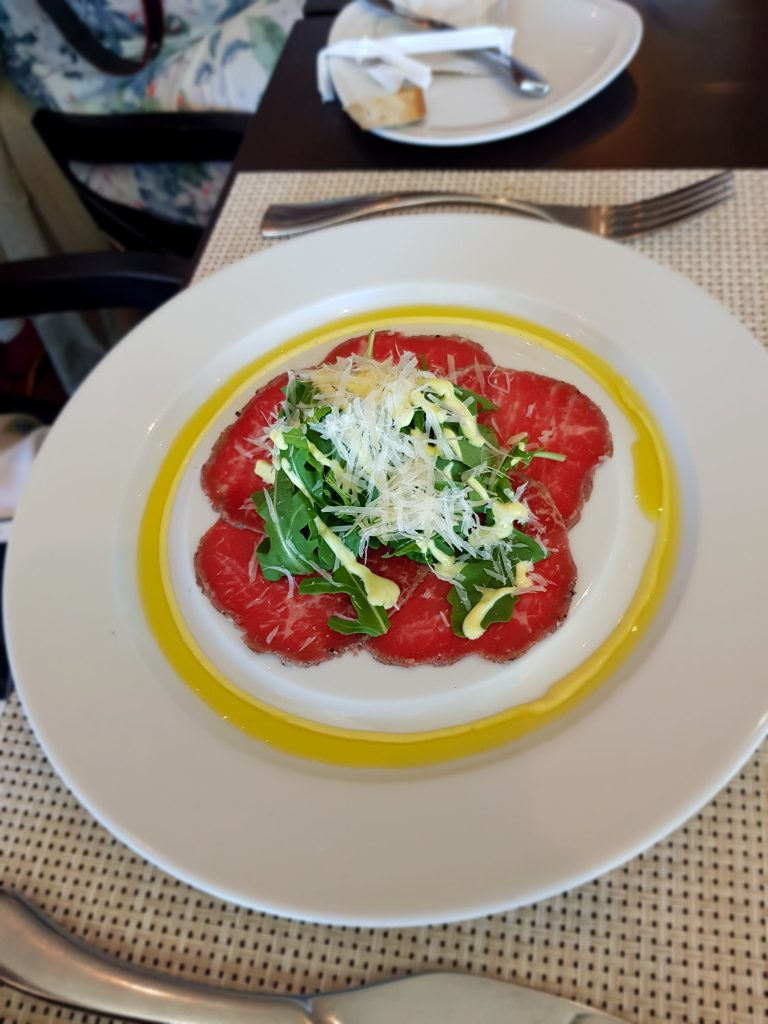 Beef carpaccio in Chops Grille