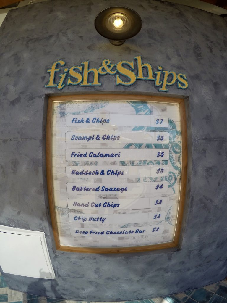 Fish and Ships menu