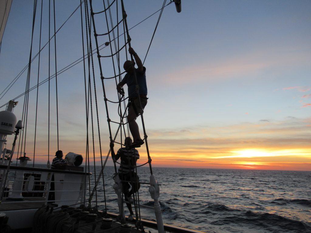 Peter climbing the mast
