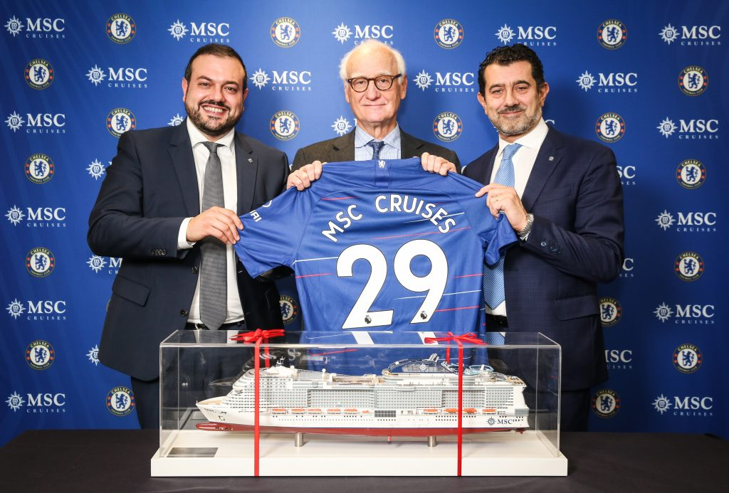 L-R - Antonio Paradiso (MD MSC Cruises UK and Ireland), Bruce Buck (Chairman Chelsea FC) and Gianni Onorato (CEO MSC Cruises), meet as MSC Cruises announces a two-and-a-half-year partnership agreement with Chelsea Football Club at Stamford Bridge in London. PRESS ASSOCIATION Photo.