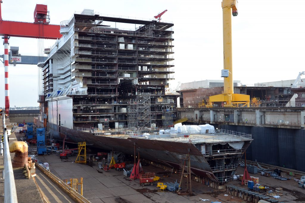 MSC Bellissima in the shipyard. Photo: MSC Cruises