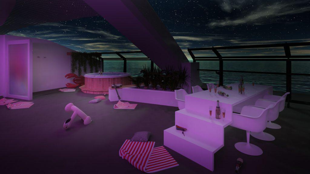 Massive Suite terrace. Image: Virgin Voyages