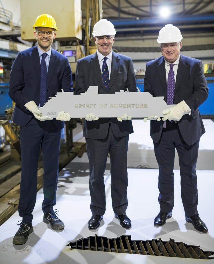 Steel cutting ceremony. Image: Saga Cruises