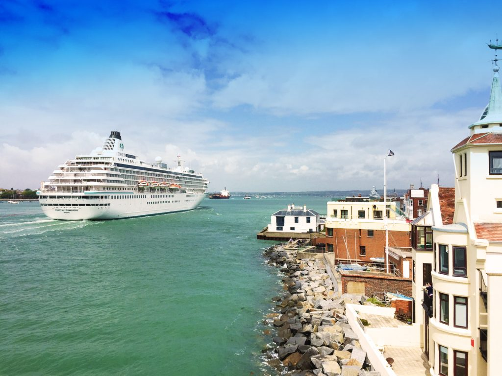 Crystal Symphony enters Portsmouth Harbour. Image: Portsmouth City Council